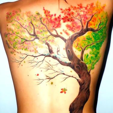 Fall Tattoo on Back Tattoo