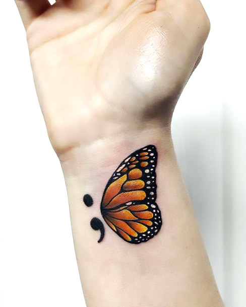 New Beginning Semicolon Tattoo Idea
