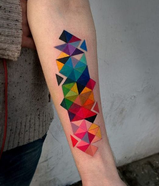 Colorful Geometric Tattoo Idea