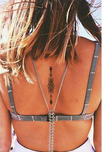 Black Arrow on Back Tattoo Idea