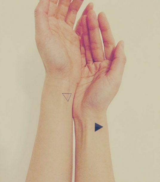 Triangles on Wrists Tattoo Idea