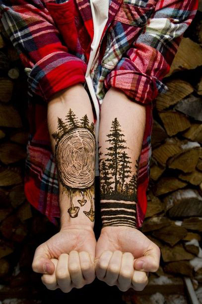 Amazing Black Forest Wood Tattoo Idea