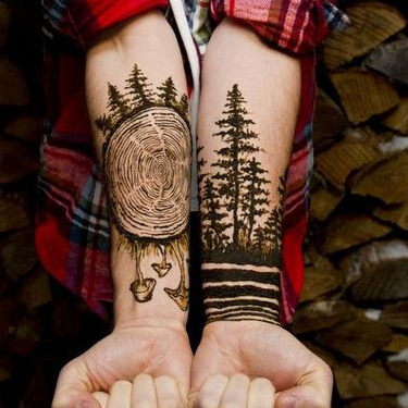 Amazing Black Forest Wood Tattoo