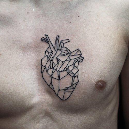 Geometric Heart Tattoo Idea