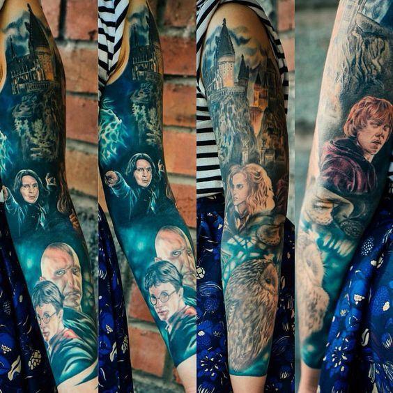 Amazing Realistic Harry Potter Sleeve Tattoo Idea