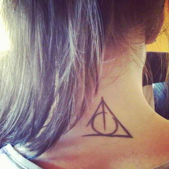 Deathly Hallows on the Neck Tattoo Idea