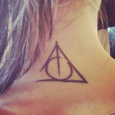 Deathly Hallows on the Neck Tattoo