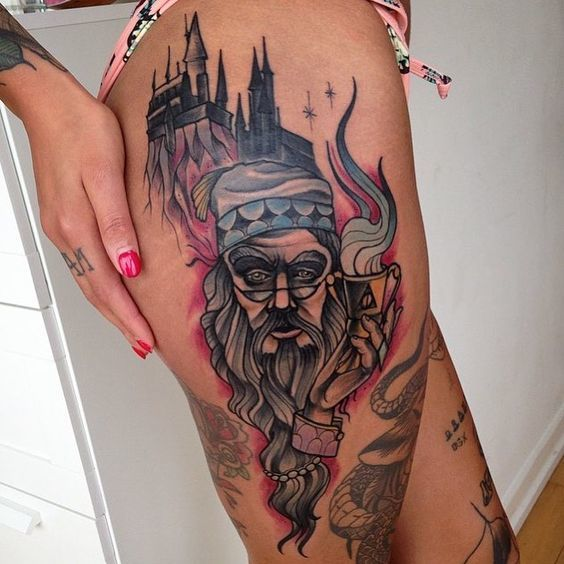 Dumbledore and Hogwarts Tattoo Idea