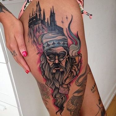 Dumbledore and Hogwarts Tattoo