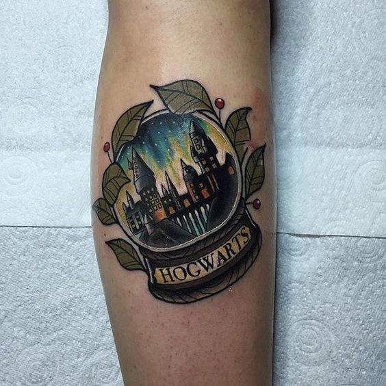 Hogwarts Snow Globe Tattoo Idea