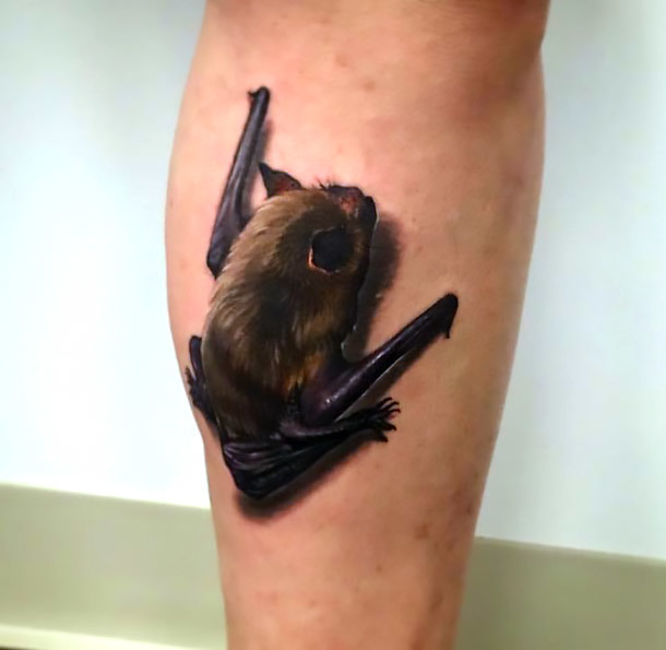 3D Bat Tattoo Idea