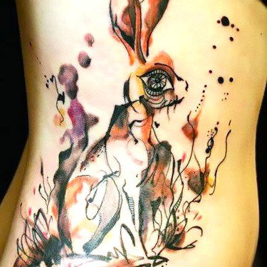 Abstract Rabbit Tattoo