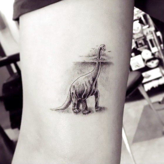 Awesome Dotwork Dinosaur Tattoo Idea