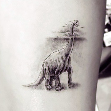 Awesome Dotwork Dinosaur Tattoo