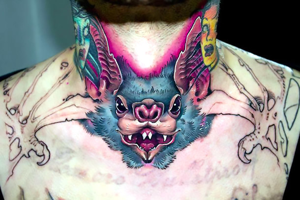 Badass Bat on Neck Tattoo Idea