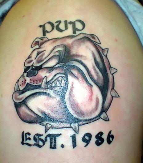 Badass Bulldog Pup Tattoo Idea