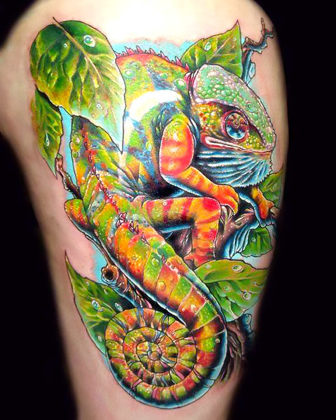 Badass Chameleon Tattoo Idea