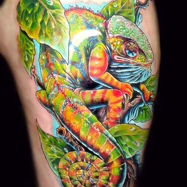 Badass Chameleon Tattoo