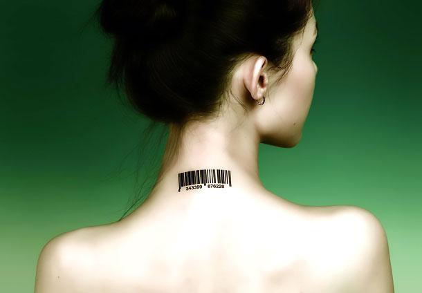 Back of Neck Barcode Tattoo Idea