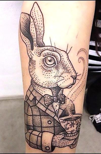 Best Dotwork Rabbit Tattoo Idea