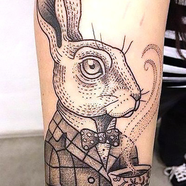Best Dotwork Rabbit Tattoo