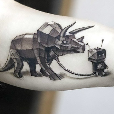Best Geometric Dinosaur Tattoo