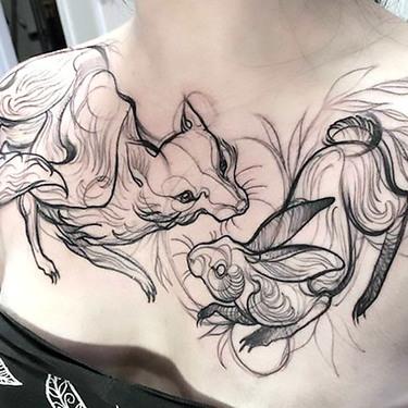 Best Rabbit and Fox Girl Tattoo
