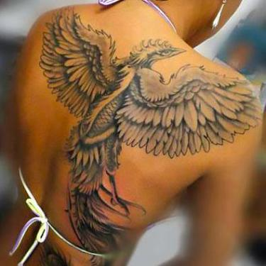 Back Phoenix for Woman Tattoo