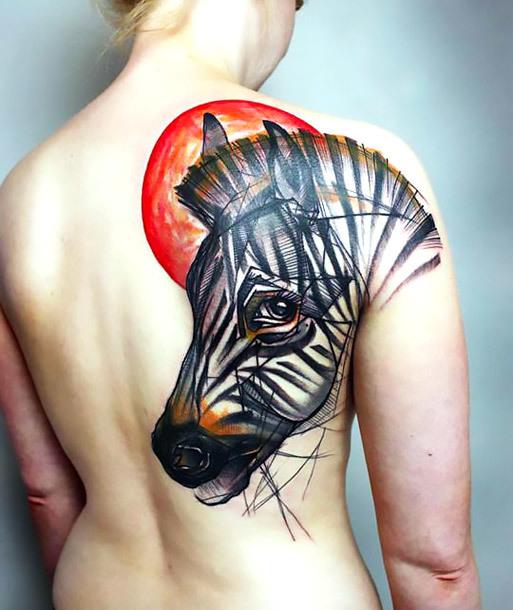 Best Zebra Tattoo on Shoulder Blade Tattoo Idea