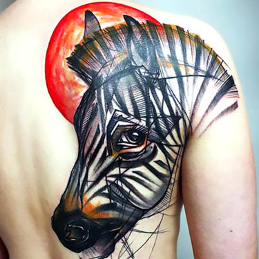 Best Zebra Tattoo on Shoulder Blade Tattoo