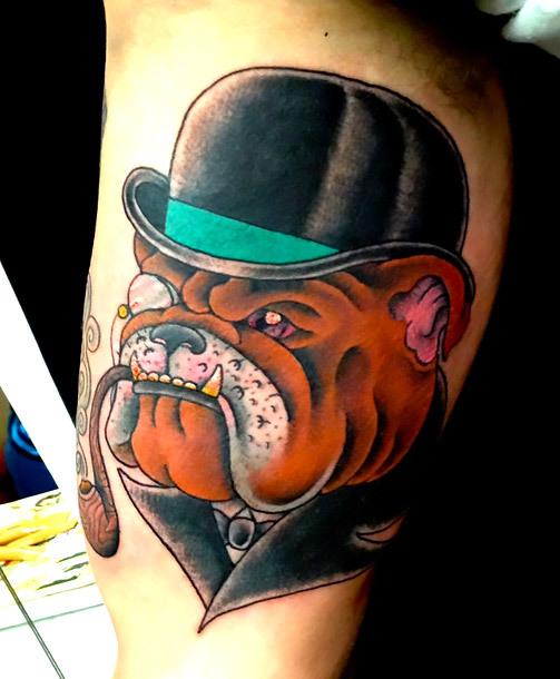 Bulldog With Hat Tattoo Idea