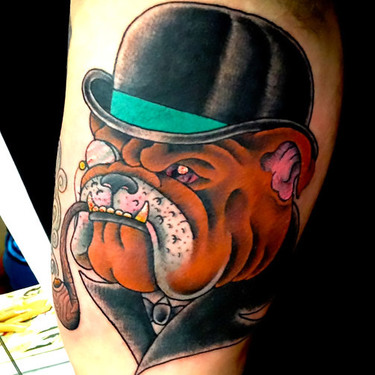 Bulldog With Hat Tattoo