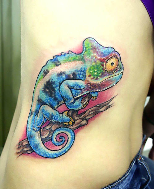 Chameleon on Girl Side Tattoo Idea