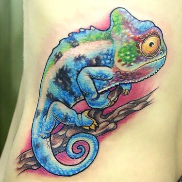 Chameleon on Girl Side Tattoo