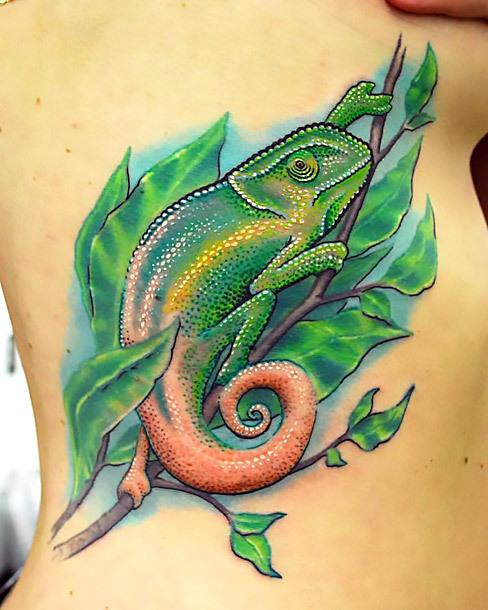 Chameleon on Leaf Tattoo Idea