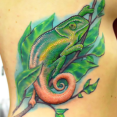 Chameleon on Leaf Tattoo