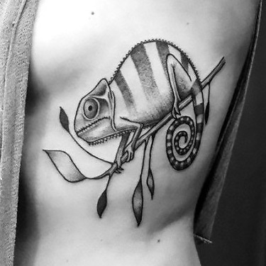Chameleon on Ribs Tattoo