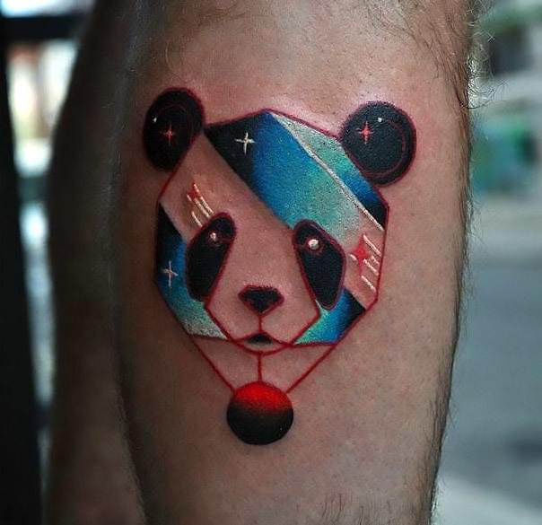 Colorful Panda Head Tattoo Idea