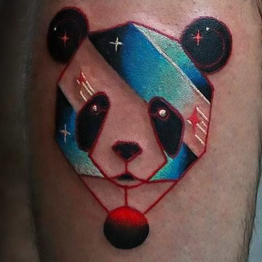 Colorful Panda Head Tattoo