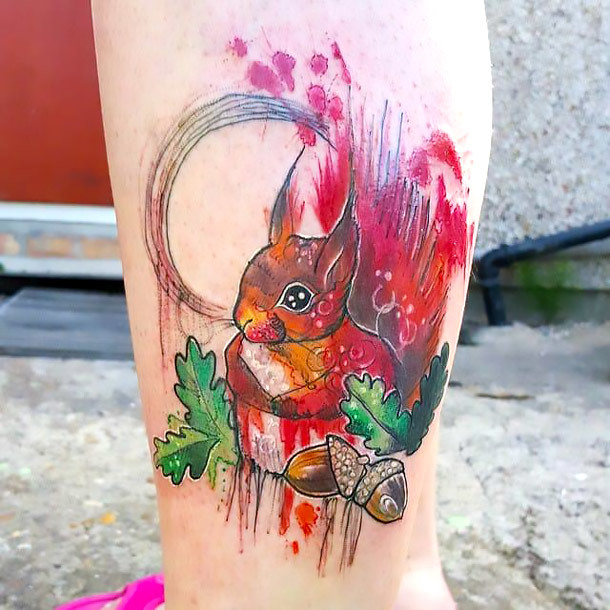 Colorful Squirrel Tattoo Idea