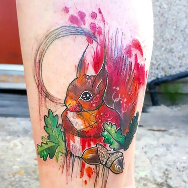 Colorful Squirrel Tattoo
