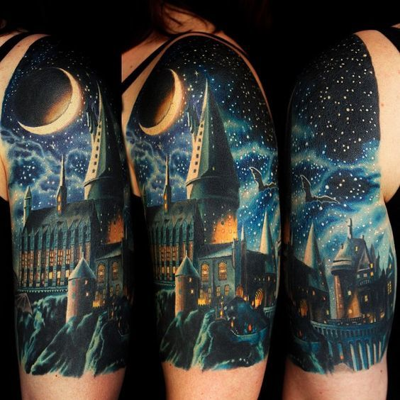 Night Hogwarts Tattoo Idea