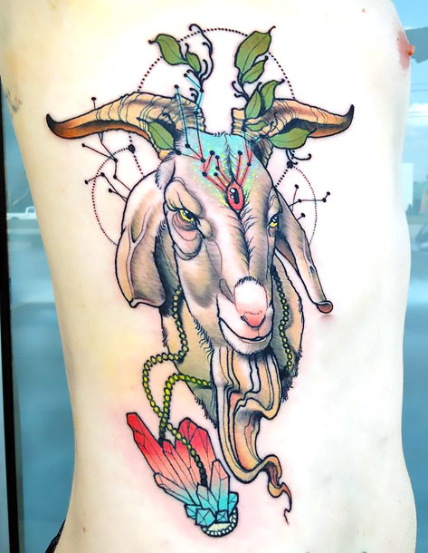 Cool Goat Tattoo Idea