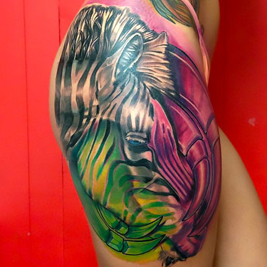 Cool Zebra on Thigh Tattoo