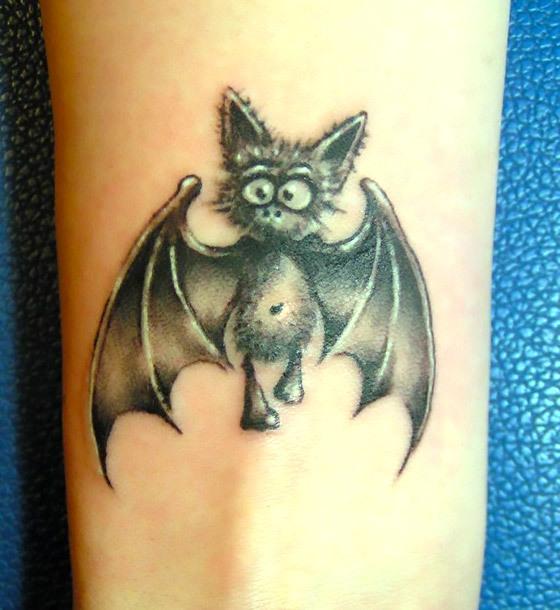 Cute Bat on Forearm Tattoo Idea