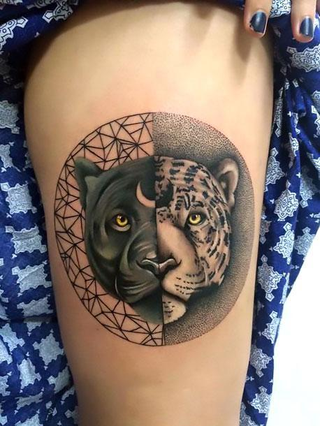 Amazing Black Leopard Yin Yang Tattoo Idea