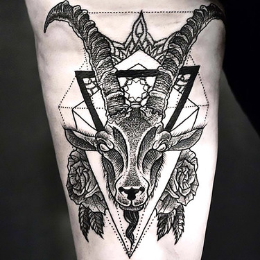 Dotwork Goat Tattoo