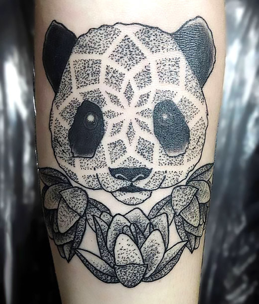 Dotwork Panda Tattoo Idea