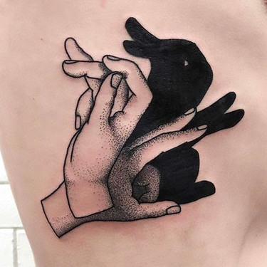 Dotwork Rabbit Shadow Tattoo