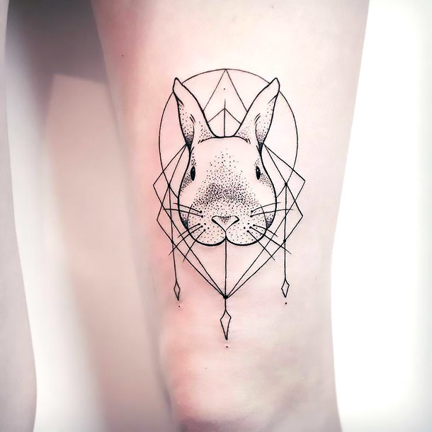 Fineline Rabbit Tattoo Idea